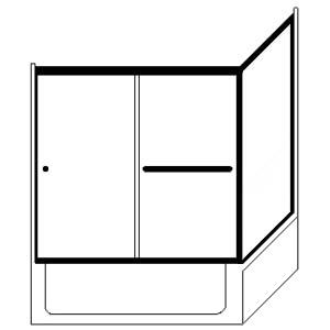 Picture of Fits Opening: Width (in) 60 X 36/Height (in) 57 3/8 - LETER-90 -Showerhead Left-LTER396X57